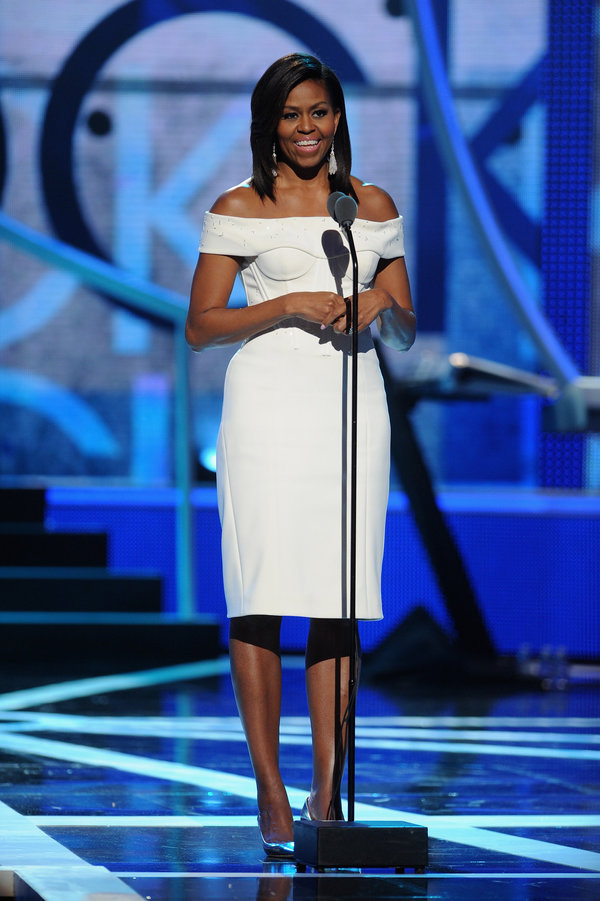 """NEWARK, NJ - MARCH 28: US First Lady Michelle Obama speaks onstage during the """"Black Girls Rock!"""" BET Special at NJPAC – Prudential Hall on March 28, 2015 in Newark, New Jersey. (Photo by Brad Barket/BET/Getty Images for BET)"""